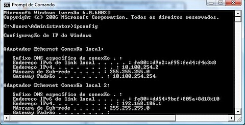 prompt comando ipconfig windows vista