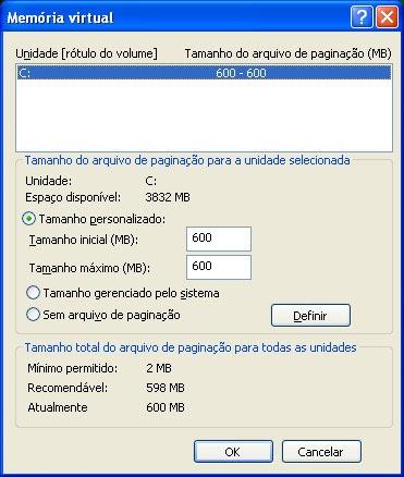 windows xp memoria virtual