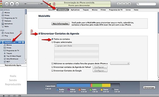 iTunes sync contacts iphone