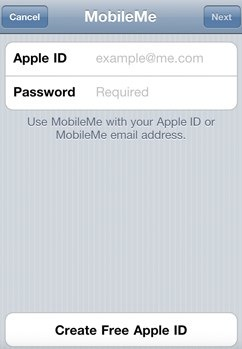 iphone create mobile me account apple id