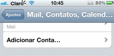 iPhone adicionar conta mail