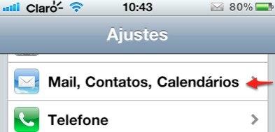 iPhone mail contatos calendarios