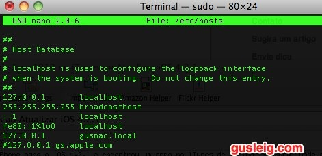 mac os x terminal hosts file