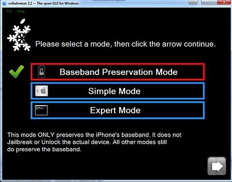 sn0wbreeze baseband preservation mode