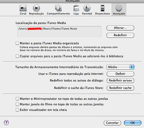 Avançado itunes preferences