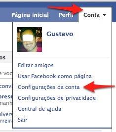 Facebook configuracao de conta
