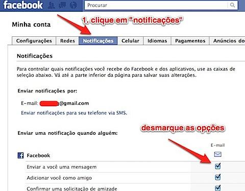 facebook email notificação desativar-1