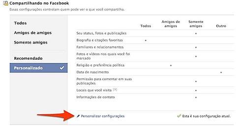 facebook privacidade configuracoes