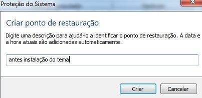 Windows 7 criar ponto restauracao