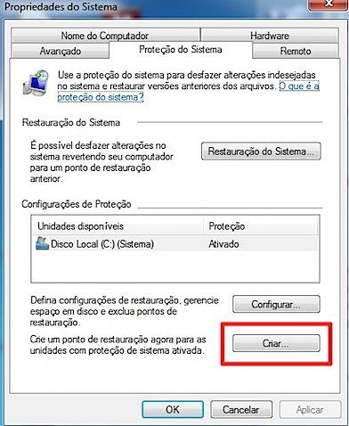 Windows 7 propriedades do sistema criar restauracao.jpg