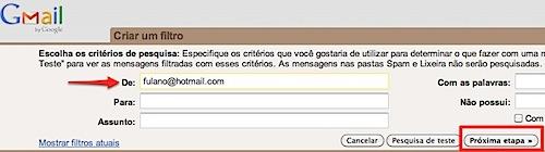gmail criar filtro