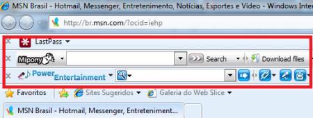 barra ferramenta internet explorer