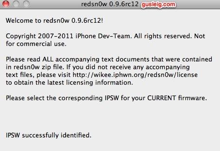 redsn0w 0.9.6rc12 ipsw identified