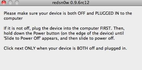 redsn0w 0.9.6rc12 off plugged in