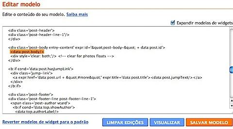 Blogger __ Editar HTML do modelo