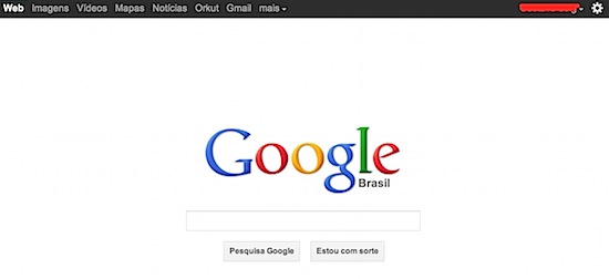 Google new style page black bar