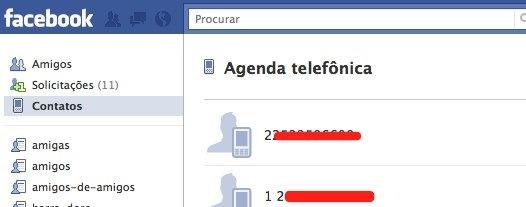 Amigos facebook contatos