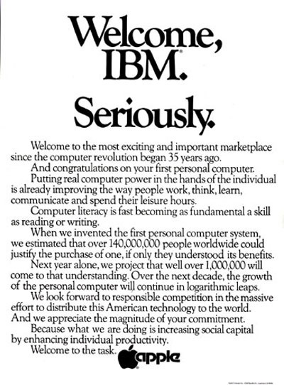 apple welcome ibm pc