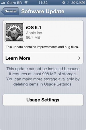 apple ios 6.1 update atualizacao iphone