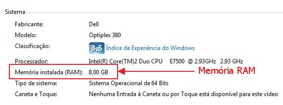 memória RAM windows 7