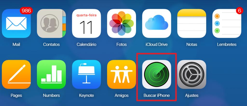 Escolha a opção Buscar iPhone